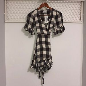 URBAN OUTFITTERS Women's Plaid Wrap Tie Dress